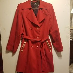 PLUS SIZE Red Double breasted Trench